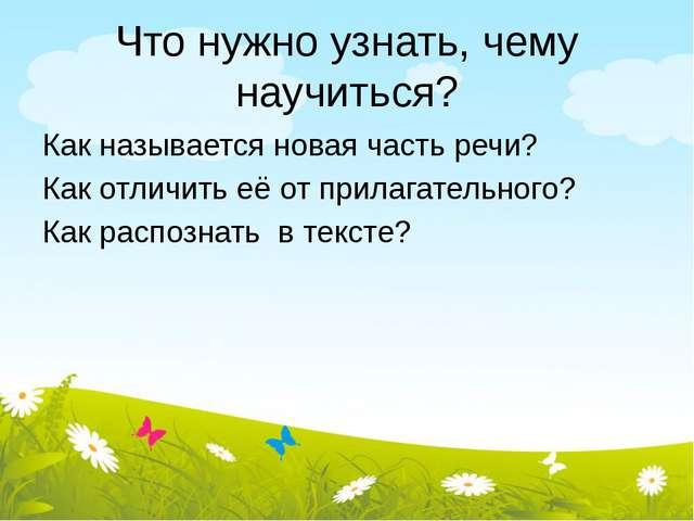 Что нужно узнать, чему научиться? Как называется новая часть речи? Как отличи...