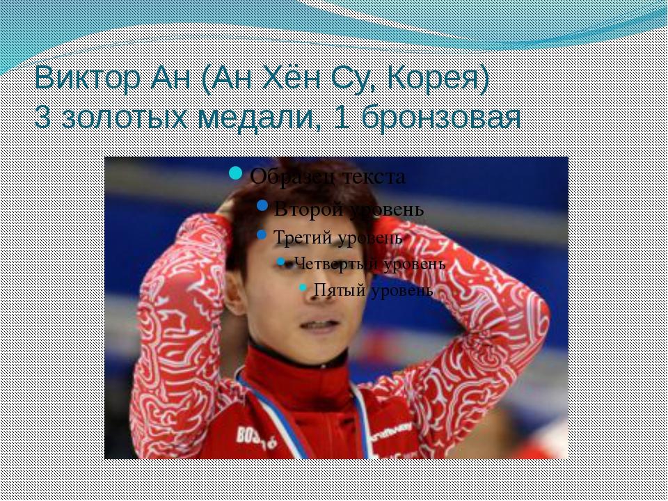 Виктор Ан (Ан Хён Су, Корея) 3 золотых медали, 1 бронзовая