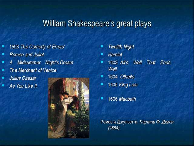 William Shakespeare's great plays Twelfth Night Hamlet 1603	All's Well That E...