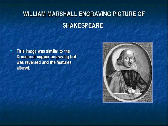 WILLIAM MARSHALL ENGRAVING PICTURE OF SHAKESPEARE This image was similar to t...