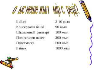 Қағаз2-10 жыл Консервалы банкі90 жыл Шылымның фильтрі100 жыл Полиэтилен па
