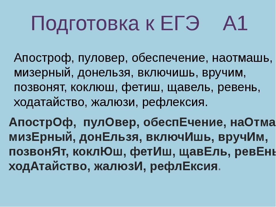 Подготовка к ЕГЭ А1 Апостроф, пуловер, обеспечение, наотмашь, мизерный, донел...