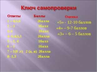 Ответы Баллы 1 – 4,5,6 2балла 2 – 3 1балл 3-4 1балл 4- 6,4,5,1 2балла 5 – 1,
