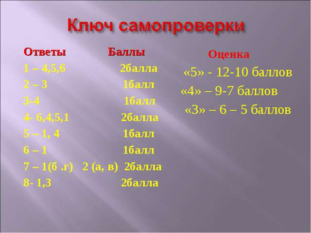 Ответы Баллы 1 – 4,5,6 2балла 2 – 3 1балл 3-4 1балл 4- 6,4,5,1 2балла 5 – 1,...
