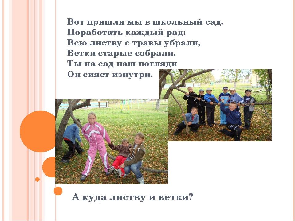 Вот пришли мы в школьный сад. Поработать каждый рад: Всю листву с травы убрал...