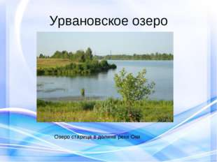 Урвановское озеро Озеро старица в долине реки Оки