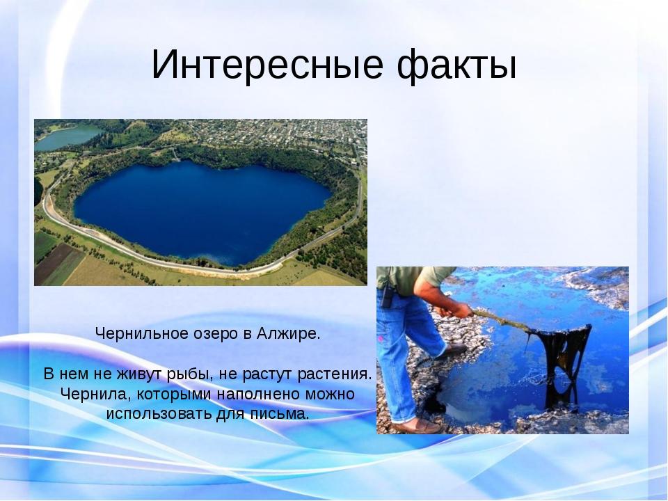 Интересные факты Чернильное озеро в Алжире. В нем не живут рыбы, не растут ра...
