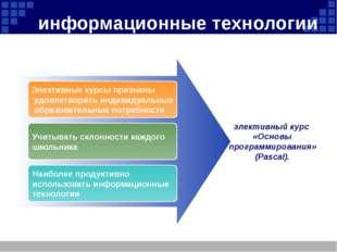 информационные технологии Элективные курсы признаны удовлетворить индивидуаль