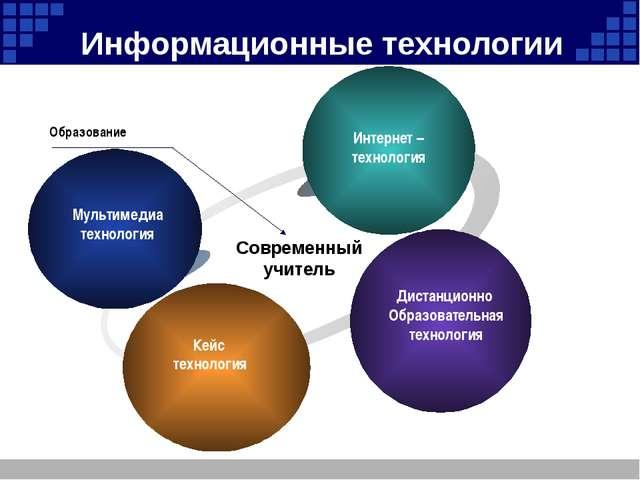 Информационные технологии Мультимедиа технология Интернет – технология Диста...