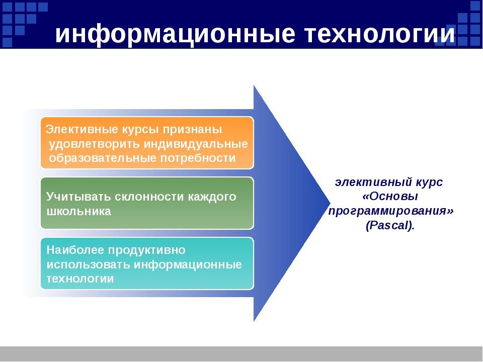 информационные технологии Элективные курсы признаны удовлетворить индивидуаль...