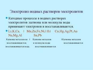 На аноде происходит окисление анионов или молекул воды ( частицы отдают элект