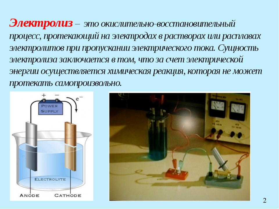 Электролиз – это окислительно-восстановительный процесс, протекающий на элект...