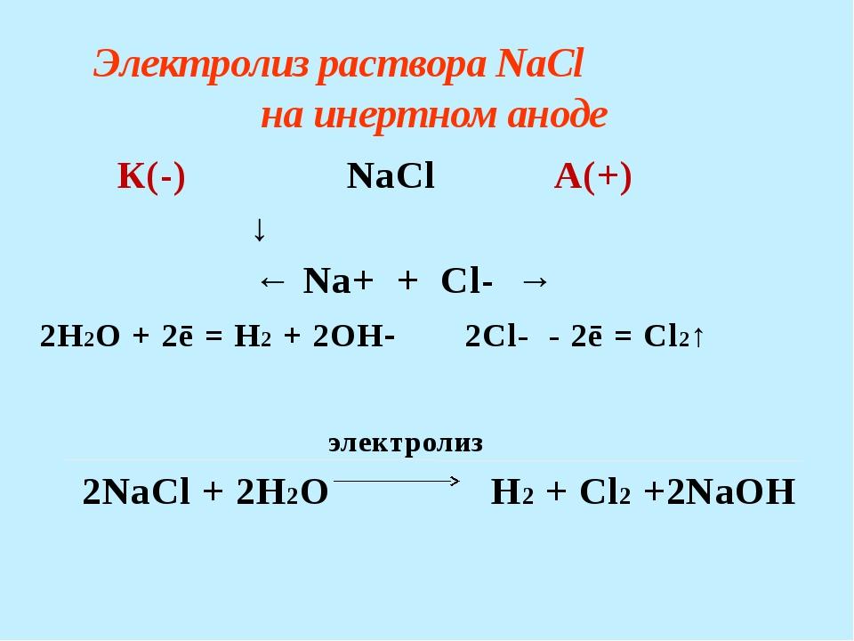 Электролиз раствора CuSO4 на инертном аноде К(-) CuSO4 А(+) ↓  ← Cu...