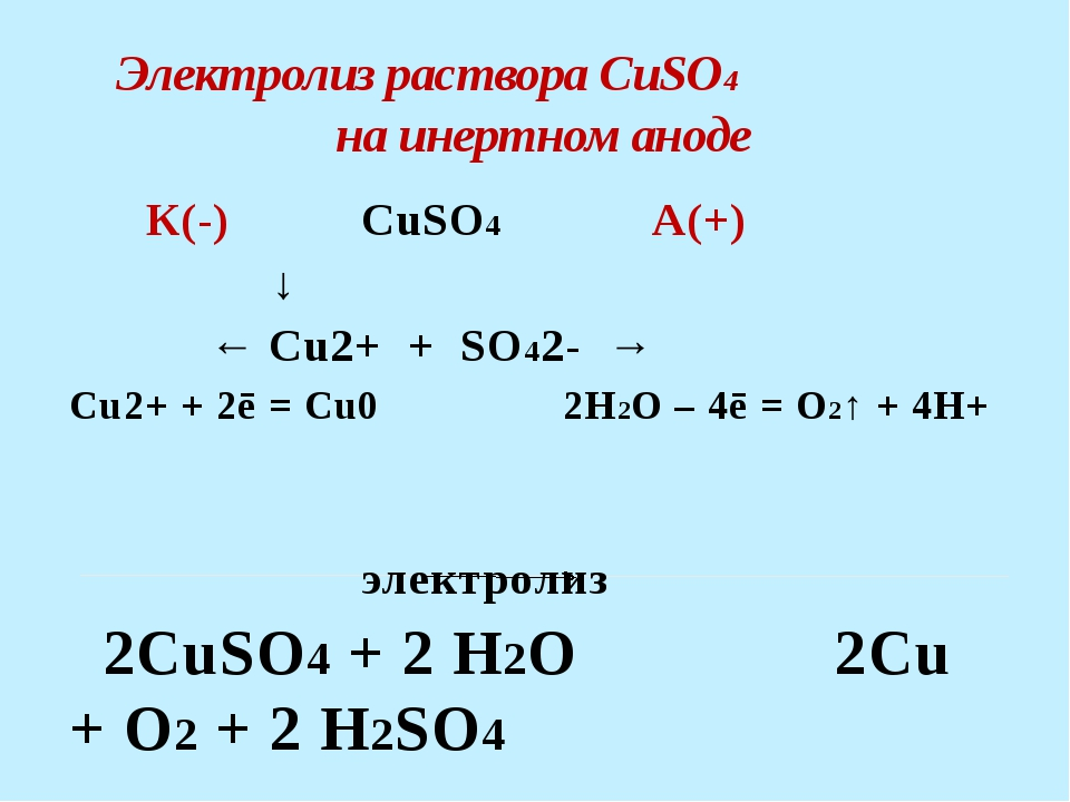 Электролиз раствора NaCl на растворимом аноде К(-) NaClА(+)  ↓ (Cu) ←...
