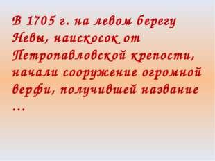 В 1705 г. на левом берегу Невы, наискосок от Петропавловской крепости, начали