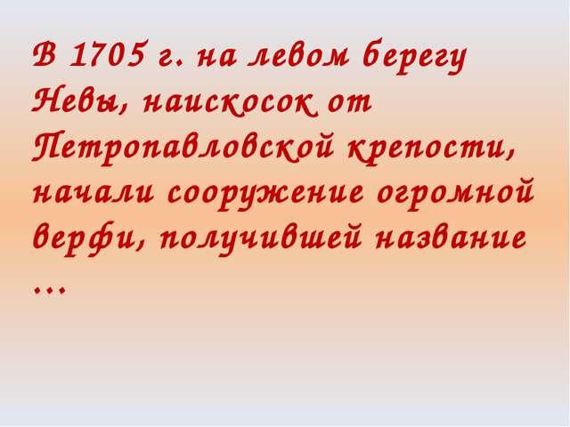 В 1705 г. на левом берегу Невы, наискосок от Петропавловской крепости, начали...
