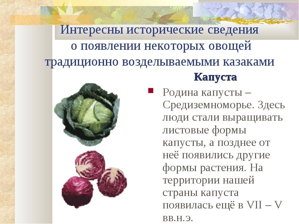 Интересны исторические сведения о появлении некоторых овощей традиционно возд...