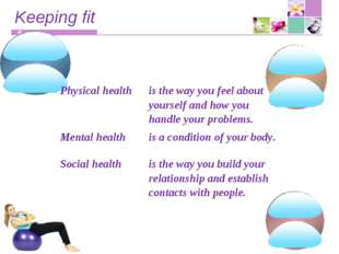 Keeping fit Physical healthis the way you feel about yourself and how you ha