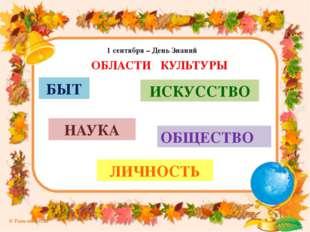 1 сентября – День Знаний ОБЛАСТИ КУЛЬТУРЫ БЫТ ИСКУССТВО НАУКА ЛИЧНОСТЬ ОБЩЕСТ