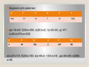 Задания для девочек: а)х-18=93; б)50х=350; в)30:х=2; г)х:25=50; д) 471-х=29;