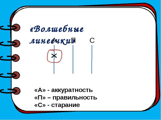 «Волшебные линеечки» А П С «А» - аккуратность «П» – правильность «С» - стара...