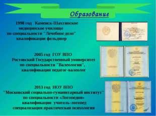 Образование 1998 год Каменск-Шахтинское медицинское училище по специальности