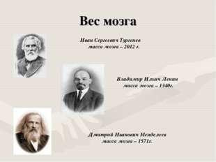 Вес мозга Иван Сергеевич Тургенев масса мозга – 2012 г. Владимир Ильич Ленин