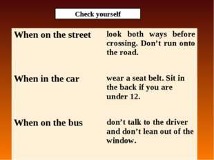 Check yourself When on the streetlook both ways before crossing. Don't run o
