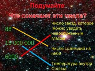 Число звезд, которое можно увидеть невооруженным глазом Число созвездий на не