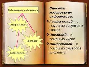Способы кодирования информации: Графический – с помощью рисунков и знаков. Ч