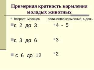 Примерная кратность кормления молодых животных Возраст, месяцев с 2 до 3 с 3