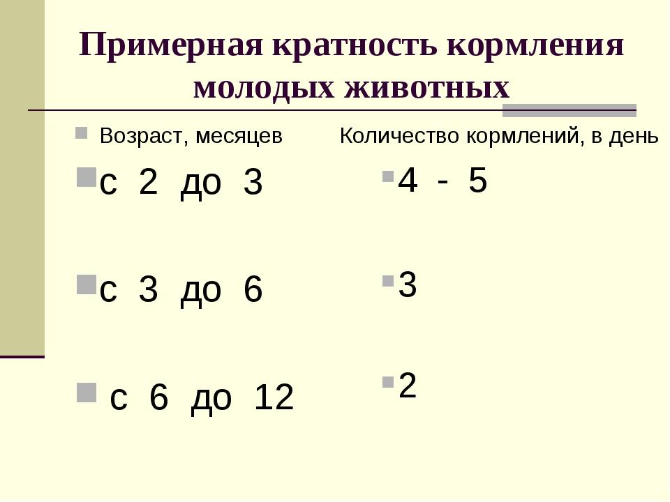 Примерная кратность кормления молодых животных Возраст, месяцев с 2 до 3 с 3...