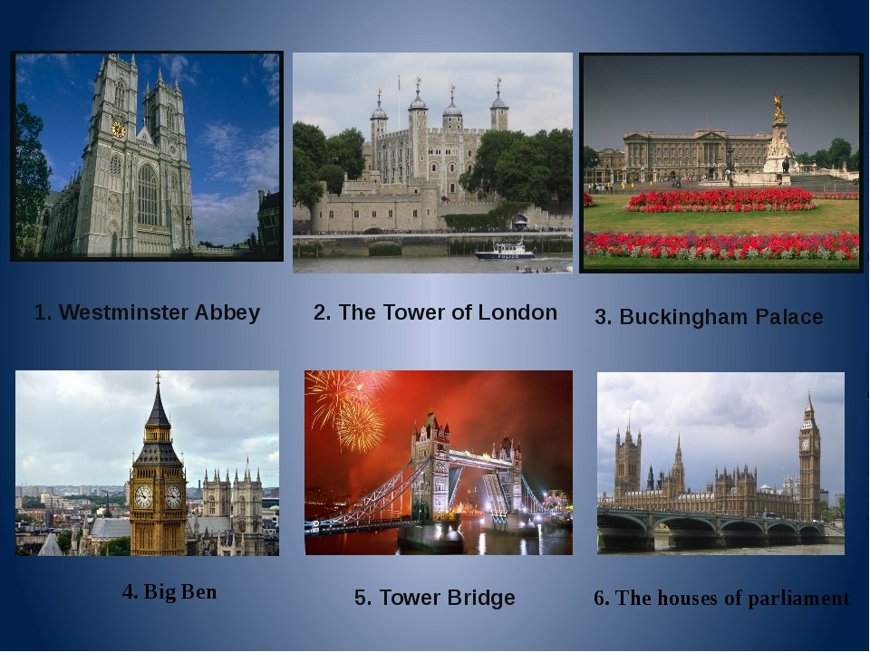 2. The Tower of London 1. Westminster Abbey 5. Tower Bridge 3. Buckingham Pal...