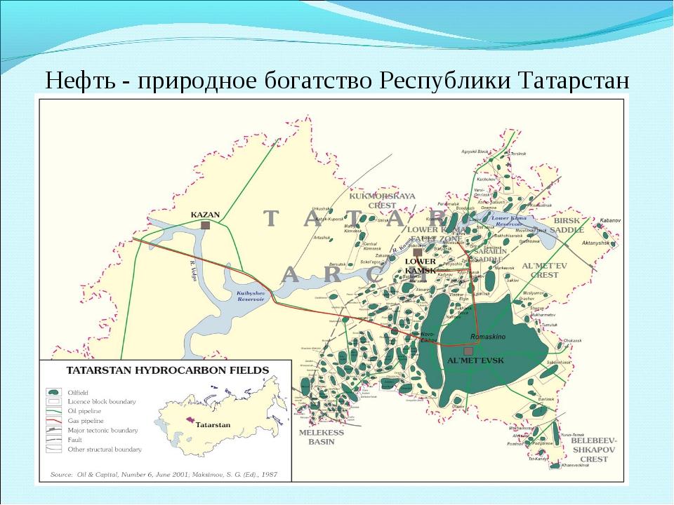 Нефть - природное богатство Республики Татарстан Татарстан, как известно, явл...
