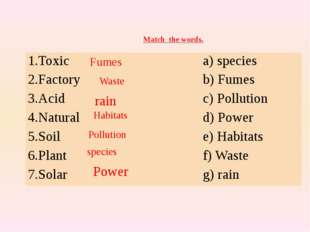 Match the words. Fumes Waste rain Habitats Pollution species Power 1.Toxic a)