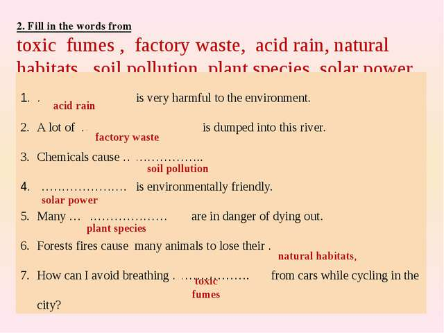 2. Fill in the words from toxic fumes , factory waste, acid rain, natural hab...