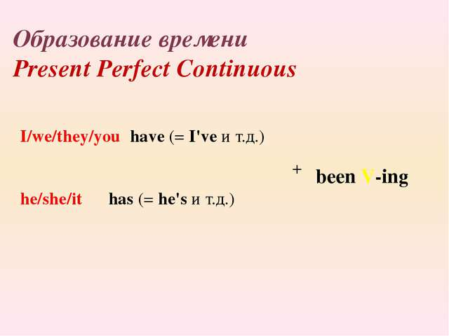 Образование времени Present Perfect Continuous I/we/they/you have(=I'veи...