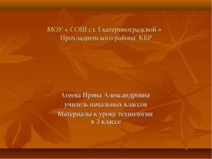МОУ « СОШ ст. Екатериноградской » Прохладненского района КБР Агеева Ирина Але