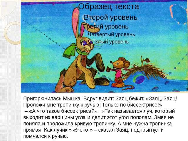 Пригорюнилась Мышка. Вдруг видит: Заяц бежит. «Заяц, Заяц! Проложи мне тропи...