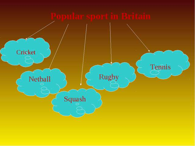 Popular sport in Britain Netball Squash Cricket Rugby Tennis