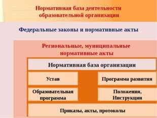 Нормативная база деятельности образовательной организации Федеральные законы