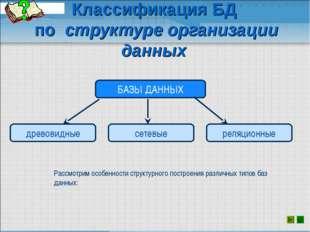 Классификация БД по структуре организации данных Рассмотрим особенности струк
