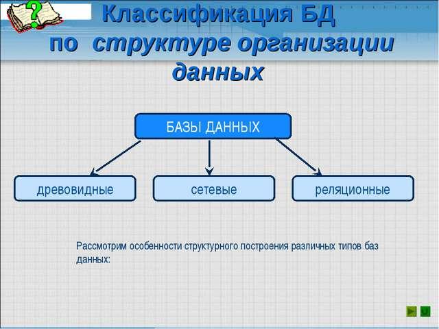 Классификация БД по структуре организации данных Рассмотрим особенности струк...
