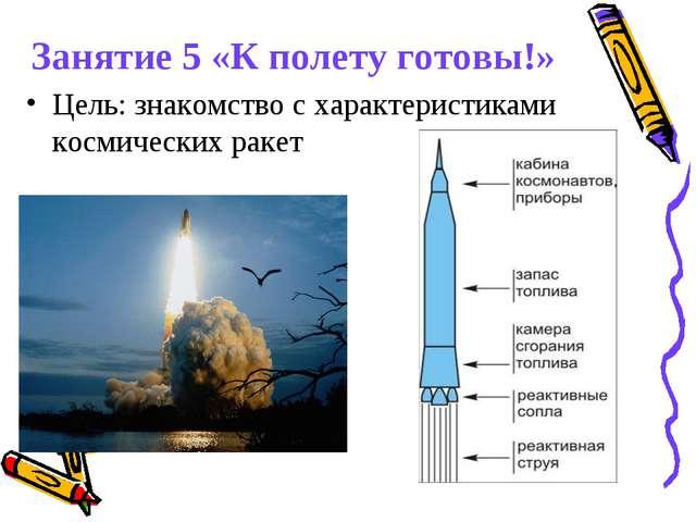 Занятие 5 «К полету готовы!» Цель: знакомство с характеристиками космических...