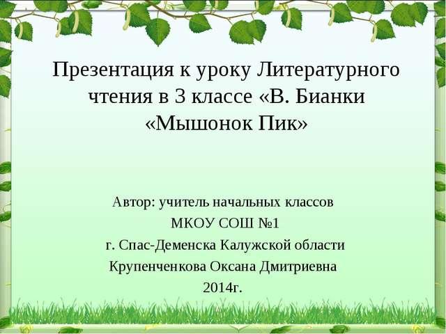 Презентация к уроку Литературного чтения в 3 классе «В. Бианки «Мышонок Пик»...