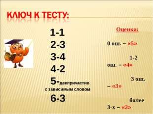 1-1 2-3 3-4 4-2 5-деепричастие с зависимым словом 6-3 Оценка: 0 ош. – «5» 1-