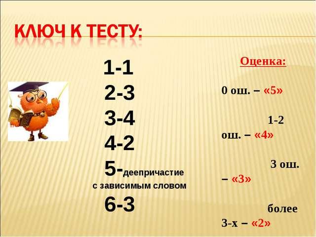 1-1 2-3 3-4 4-2 5-деепричастие с зависимым словом 6-3 Оценка: 0 ош. – «5» 1-...
