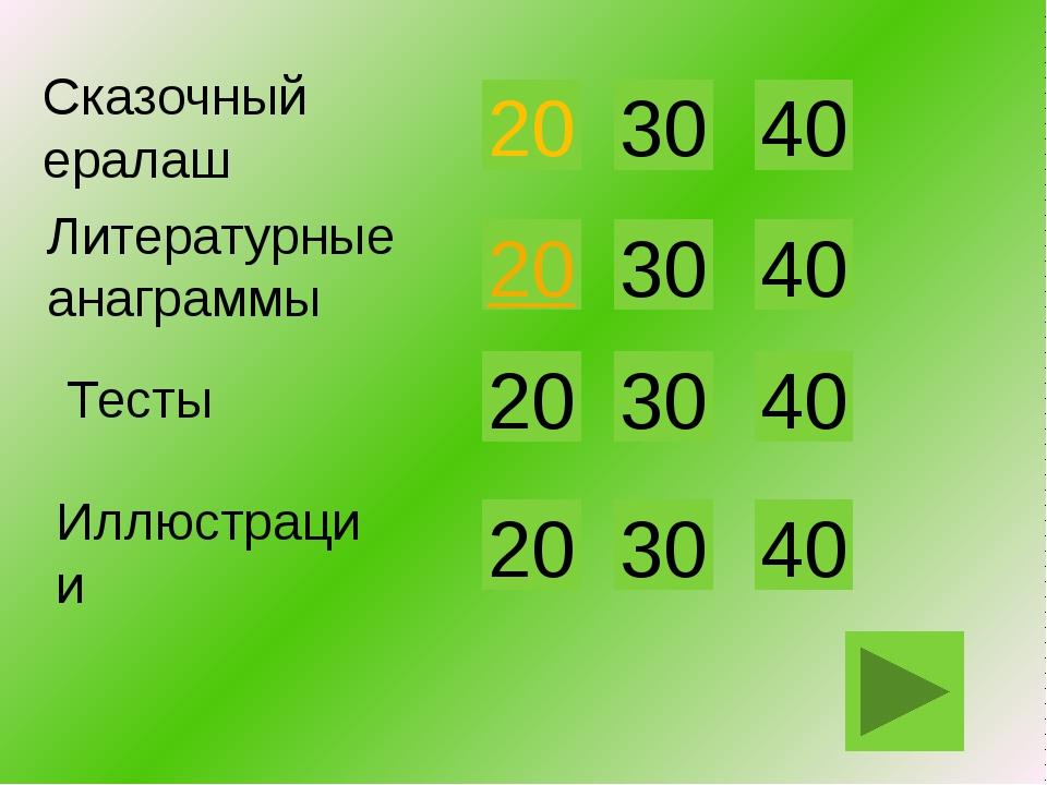 20 Литературные анаграммы 30 40 Иллюстрации 20 30 40 20 30 40 20 30 40 Сказоч...
