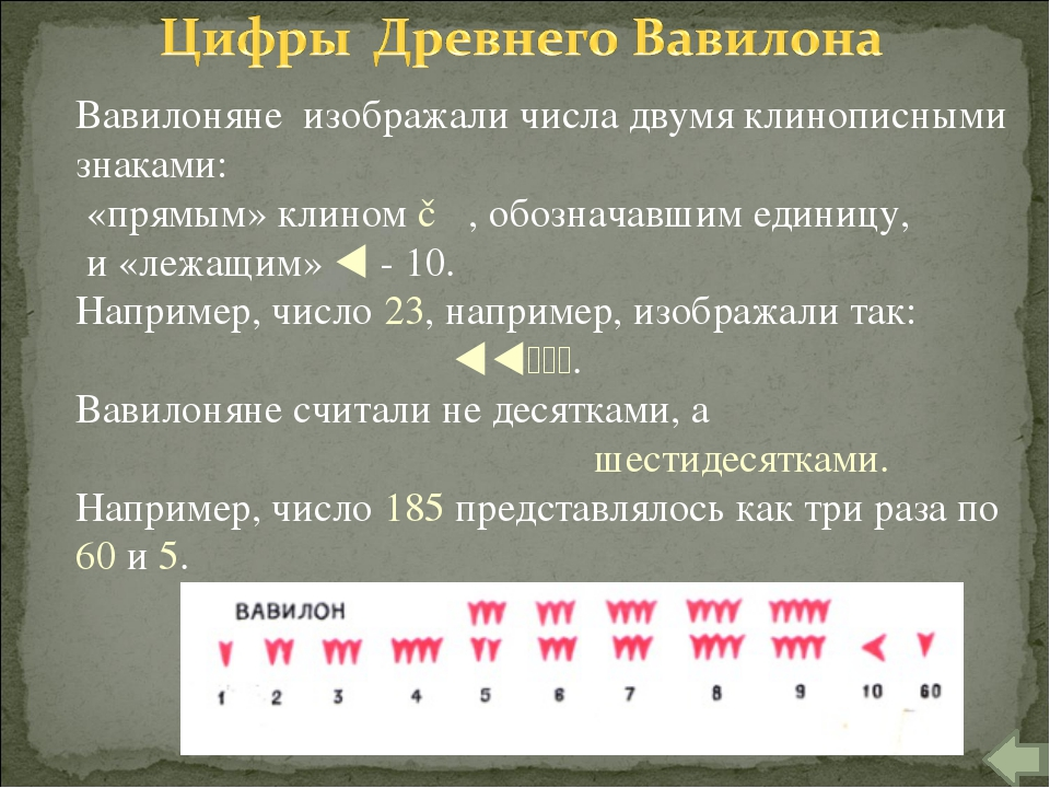 Вавилоняне изображали числа двумя клинописными знаками: «прямым» клином ▼ , о...