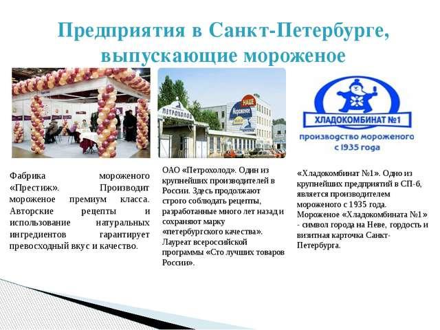 Предприятия в Санкт-Петербурге, выпускающие мороженое Фабрика мороженого «Пре...